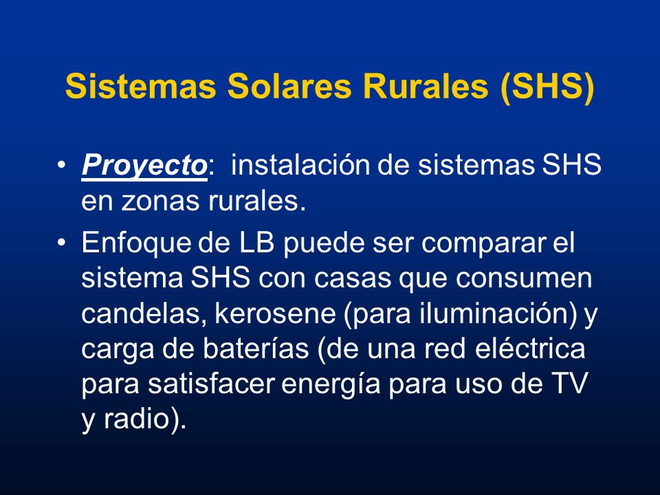 Sistemas Solares Rurales (SHS)