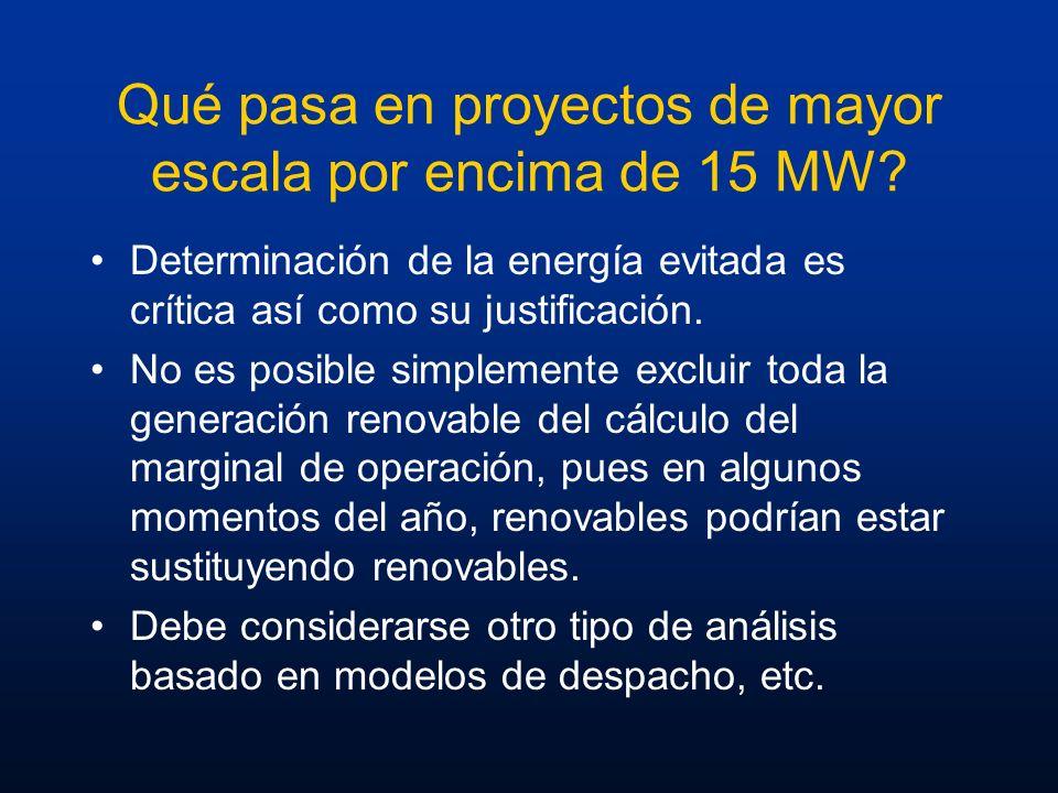 Qué pasa en proyectos de mayor escala por encima de 15 MW