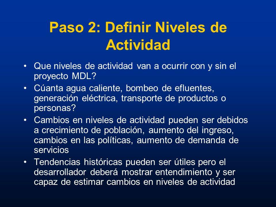 Paso 2: Definir Niveles de Actividad