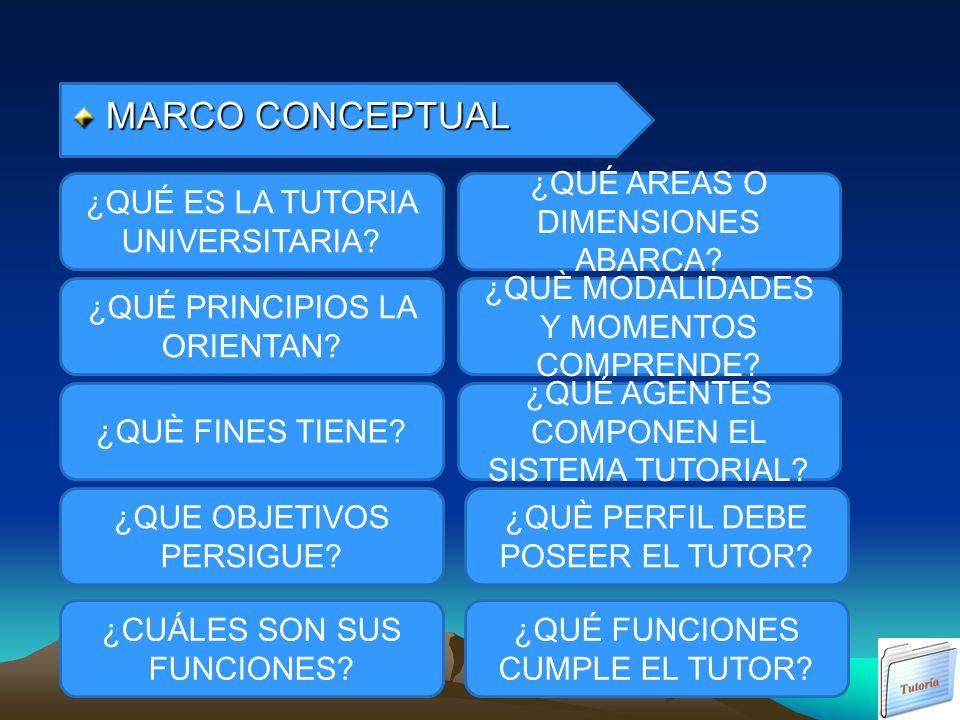 MARCO CONCEPTUAL ¿QUÉ ES LA TUTORIA UNIVERSITARIA