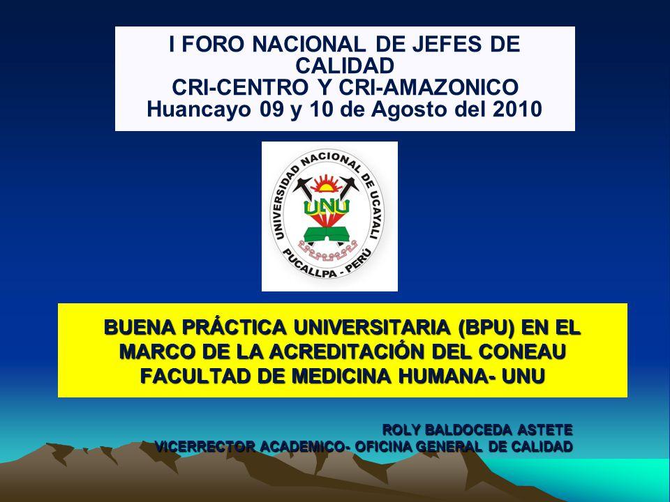 I FORO NACIONAL DE JEFES DE CALIDAD CRI-CENTRO Y CRI-AMAZONICO