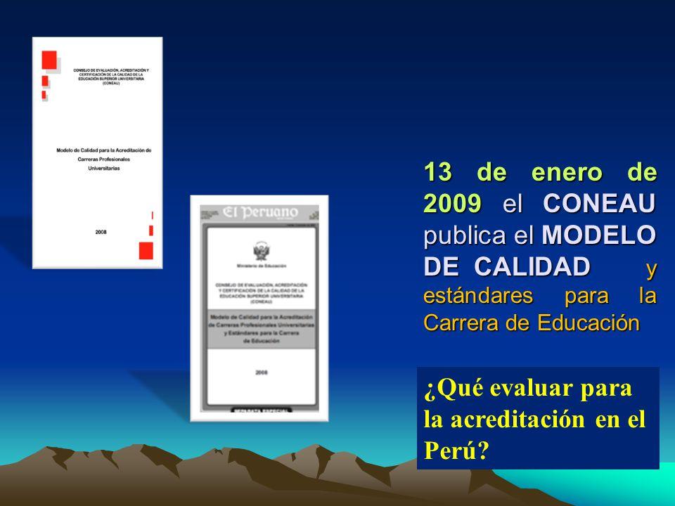 13 de enero de 2009 el CONEAU publica el MODELO DE CALIDAD y estándares para la Carrera de Educación