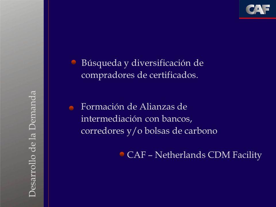 Búsqueda y diversificación de compradores de certificados.