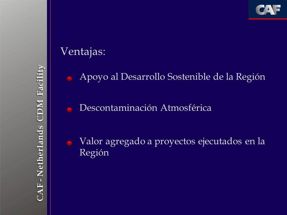 Ventajas: Apoyo al Desarrollo Sostenible de la Región