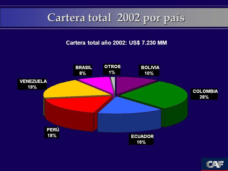 Cartera total año 2002: US$ 7.230 MM