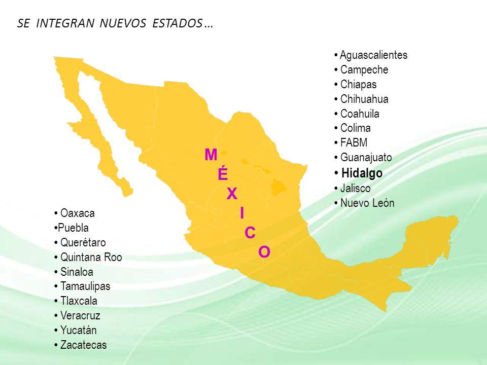 M É X I C O SE INTEGRAN NUEVOS ESTADOS … Hidalgo Aguascalientes