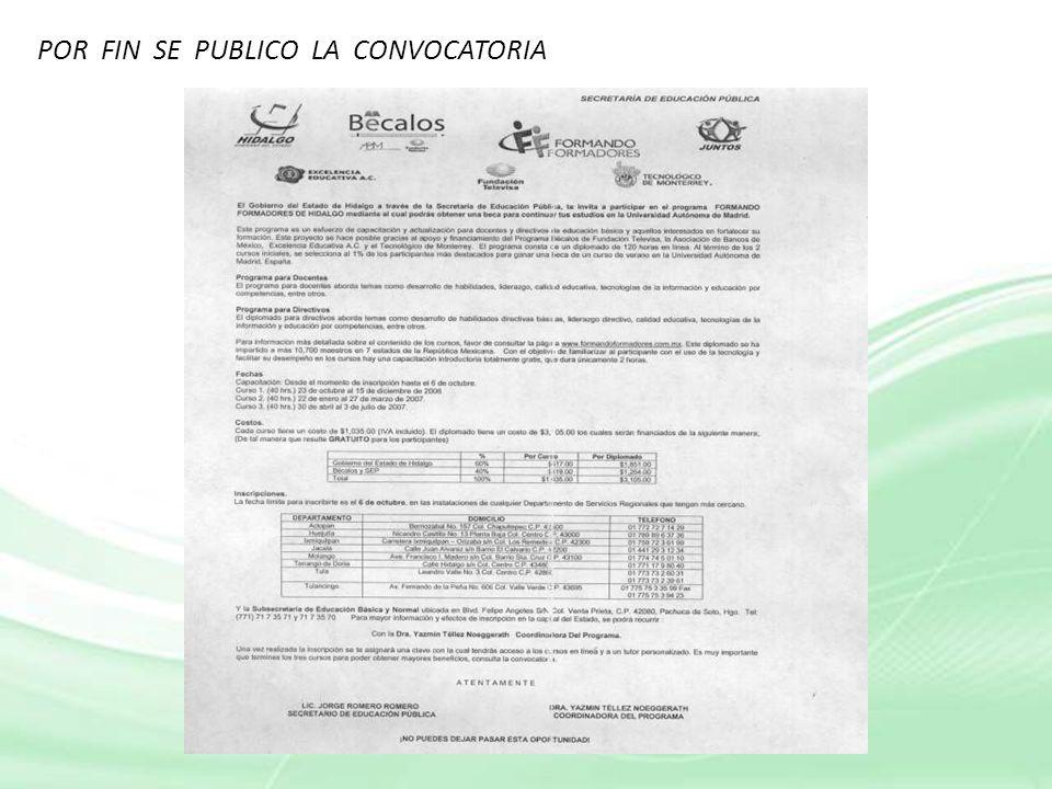 POR FIN SE PUBLICO LA CONVOCATORIA