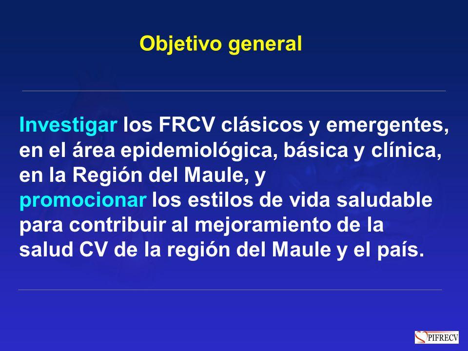Objetivo general Investigar los FRCV clásicos y emergentes, en el área epidemiológica, básica y clínica,