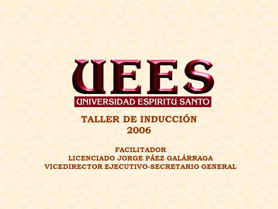 TALLER DE INDUCCIÓN 2006 FACILITADOR LICENCIADO JORGE PÁEZ GALÁRRAGA