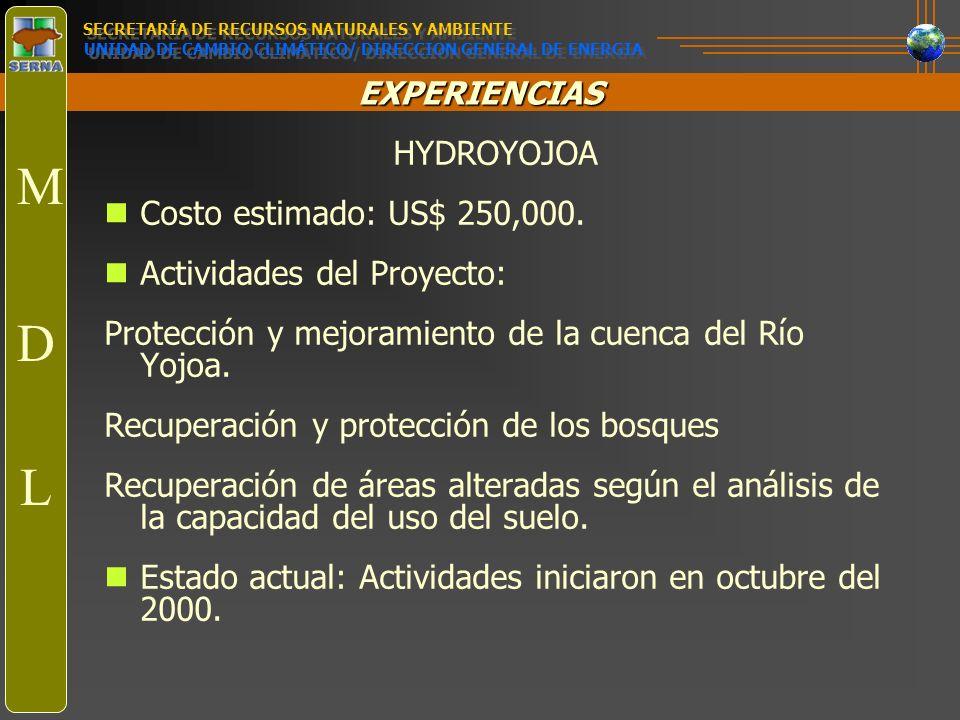M D L HYDROYOJOA Costo estimado: US$ 250,000.