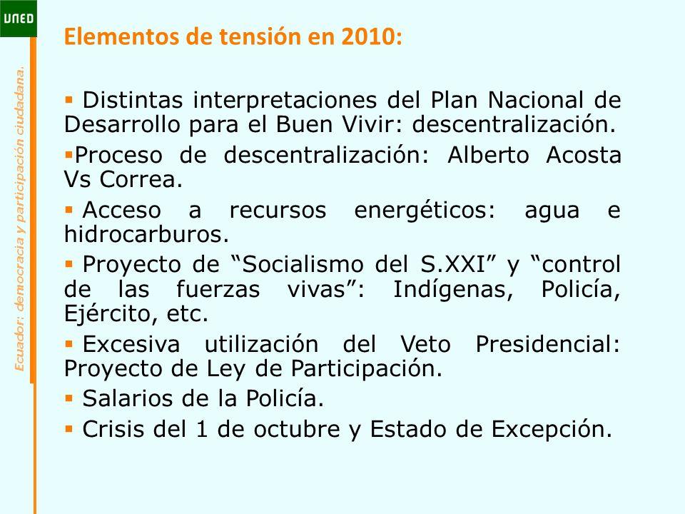 Elementos de tensión en 2010: