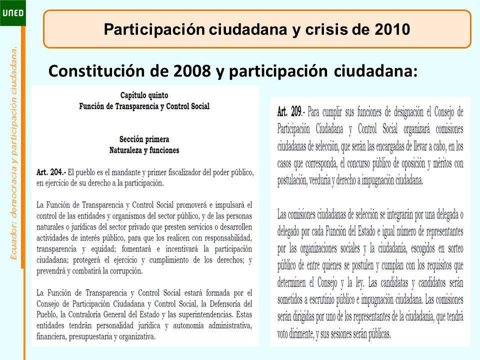 Participación ciudadana y crisis de 2010