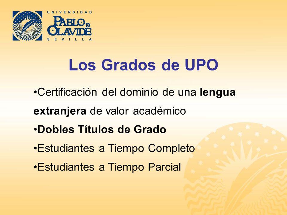 Los Grados de UPO Certificación del dominio de una lengua extranjera de valor académico. Dobles Títulos de Grado.