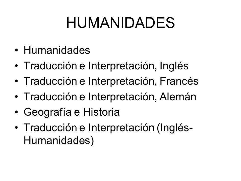 HUMANIDADES Humanidades Traducción e Interpretación, Inglés