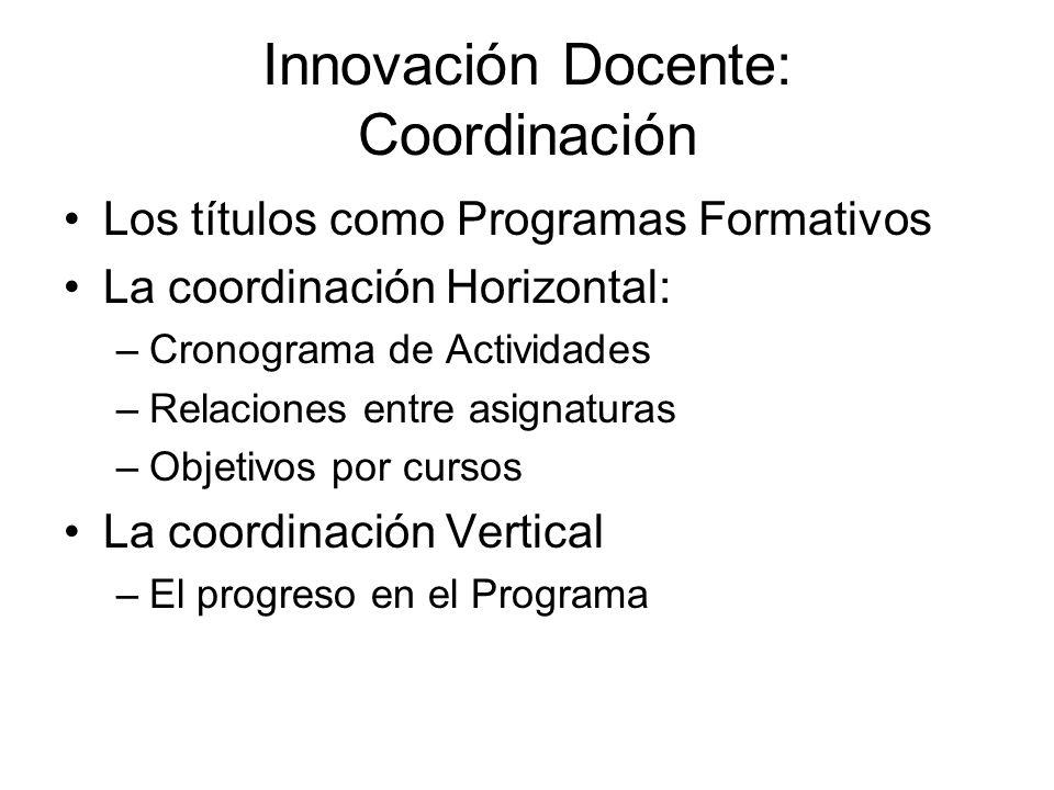 Innovación Docente: Coordinación