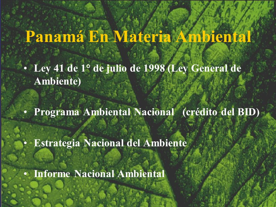 Panamá En Materia Ambiental