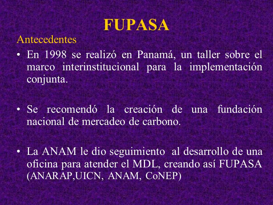 FUPASAAntecedentes. En 1998 se realizó en Panamá, un taller sobre el marco interinstitucional para la implementación conjunta.