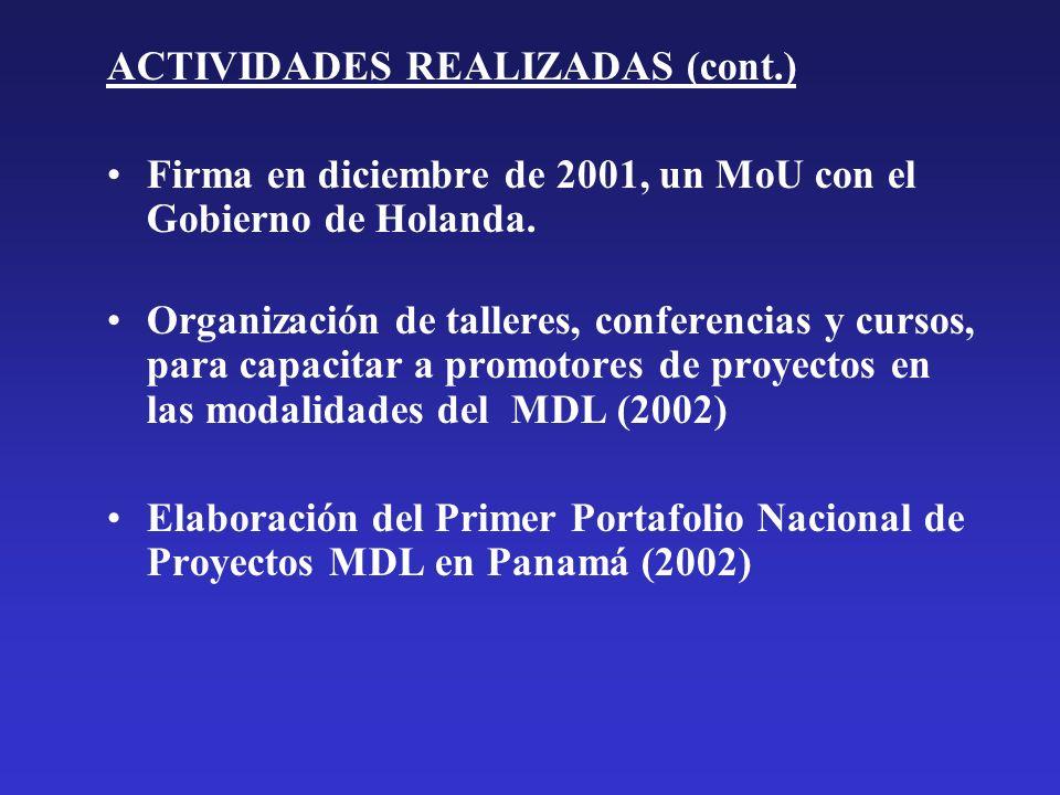 ACTIVIDADES REALIZADAS (cont.)