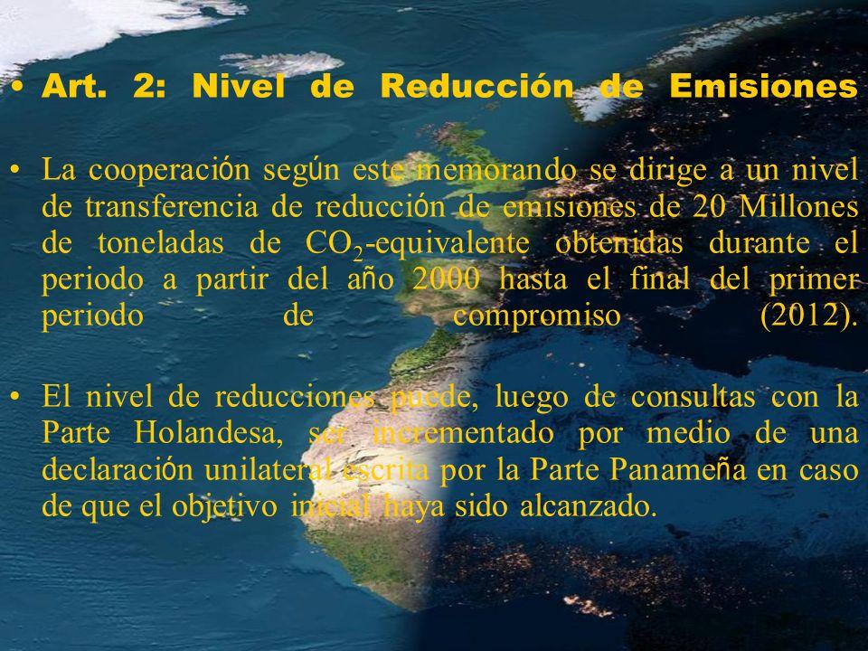 Art. 2: Nivel de Reducción de Emisiones