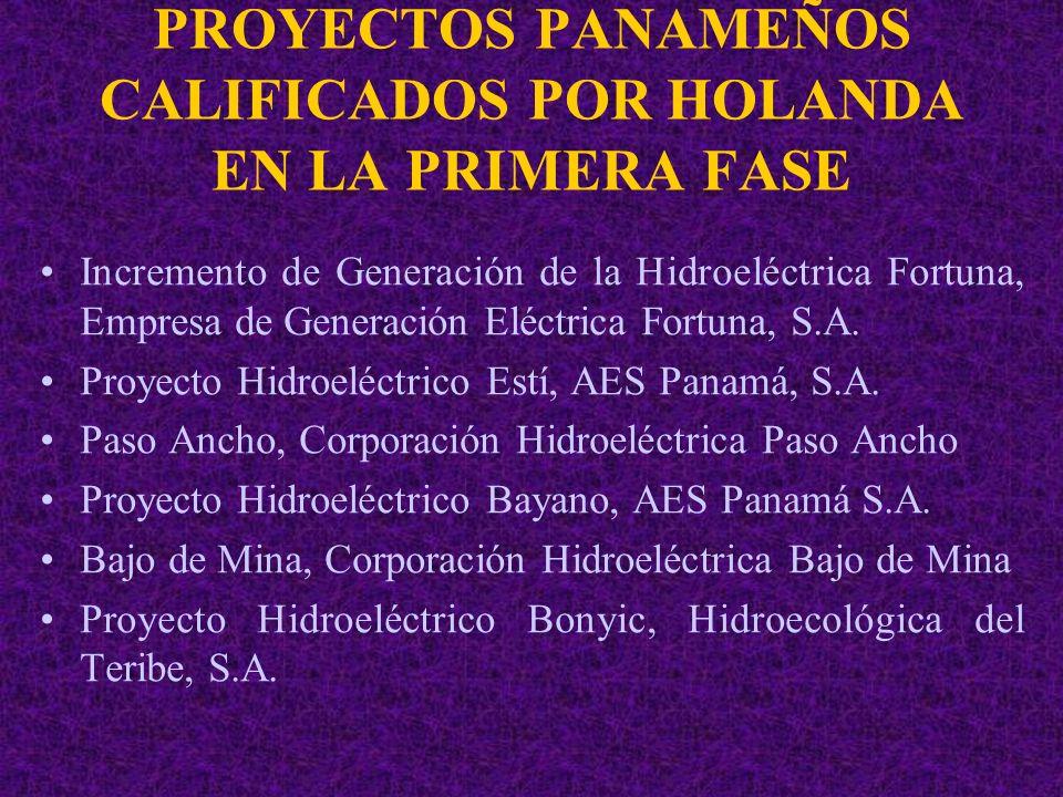 PROYECTOS PANAMEÑOS CALIFICADOS POR HOLANDA EN LA PRIMERA FASE