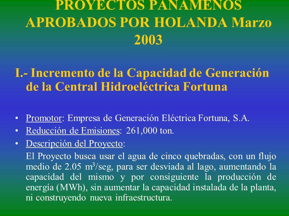 PROYECTOS PANAMEÑOS APROBADOS POR HOLANDA Marzo 2003