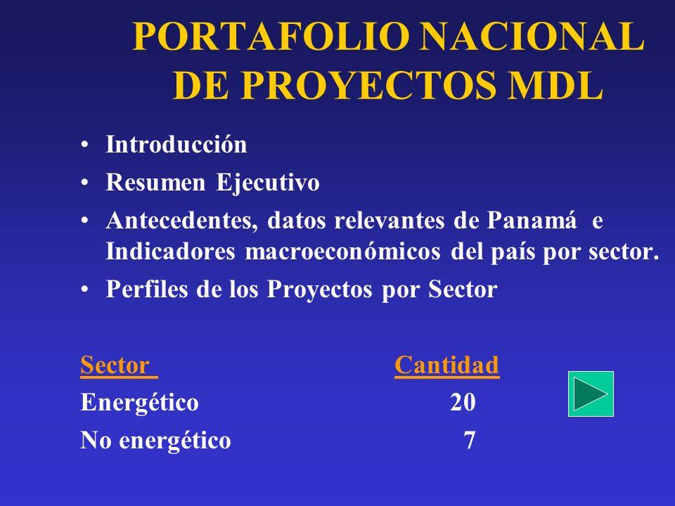 PORTAFOLIO NACIONAL DE PROYECTOS MDL