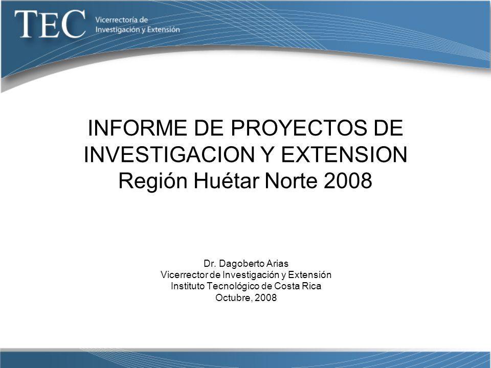 INFORME DE PROYECTOS DE INVESTIGACION Y EXTENSION Región Huétar Norte 2008
