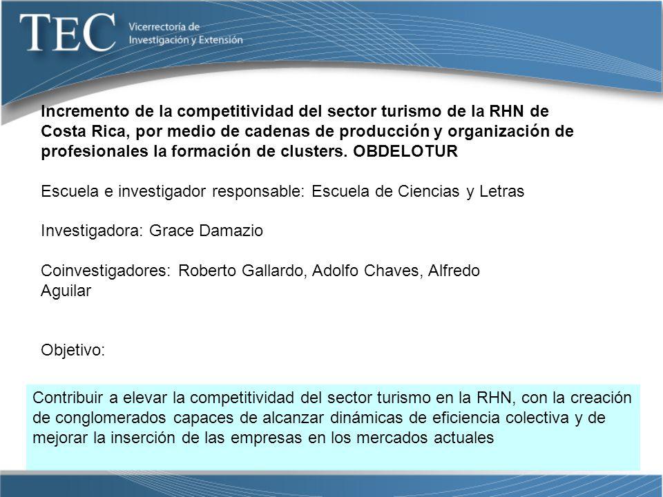 Incremento de la competitividad del sector turismo de la RHN de Costa Rica, por medio de cadenas de producción y organización de profesionales la formación de clusters. OBDELOTUR
