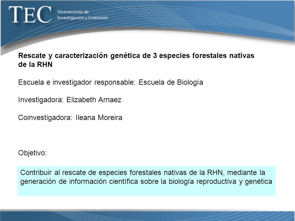 Rescate y caracterización genética de 3 especies forestales nativas de la RHN