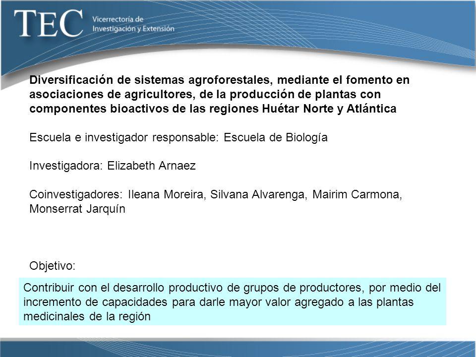Diversificación de sistemas agroforestales, mediante el fomento en asociaciones de agricultores, de la producción de plantas con componentes bioactivos de las regiones Huétar Norte y Atlántica