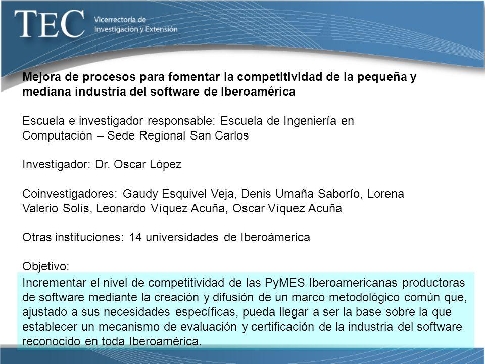 Mejora de procesos para fomentar la competitividad de la pequeña y mediana industria del software de Iberoamérica