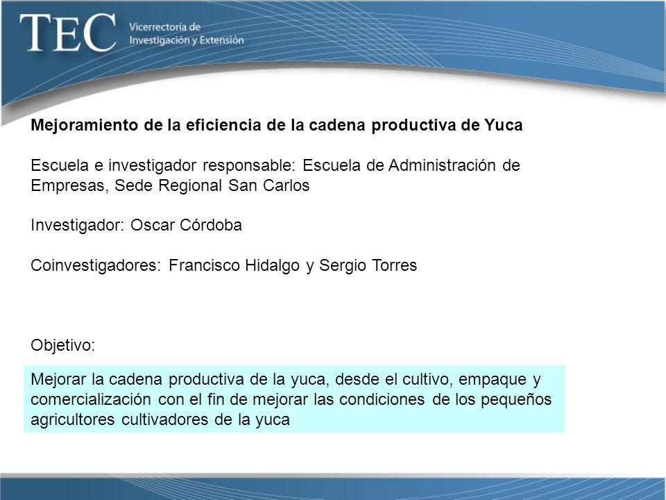 Mejoramiento de la eficiencia de la cadena productiva de Yuca