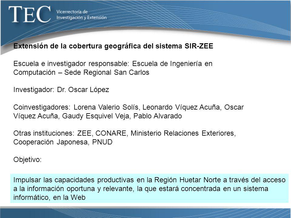 Extensión de la cobertura geográfica del sistema SIR-ZEE
