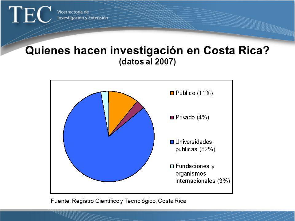Quienes hacen investigación en Costa Rica (datos al 2007)