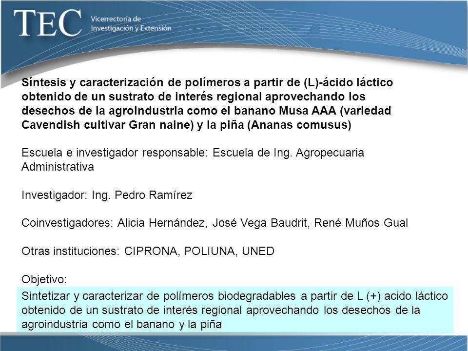 Síntesis y caracterización de polímeros a partir de (L)-ácido láctico obtenido de un sustrato de interés regional aprovechando los desechos de la agroindustria como el banano Musa AAA (variedad Cavendish cultivar Gran naine) y la piña (Ananas comusus)