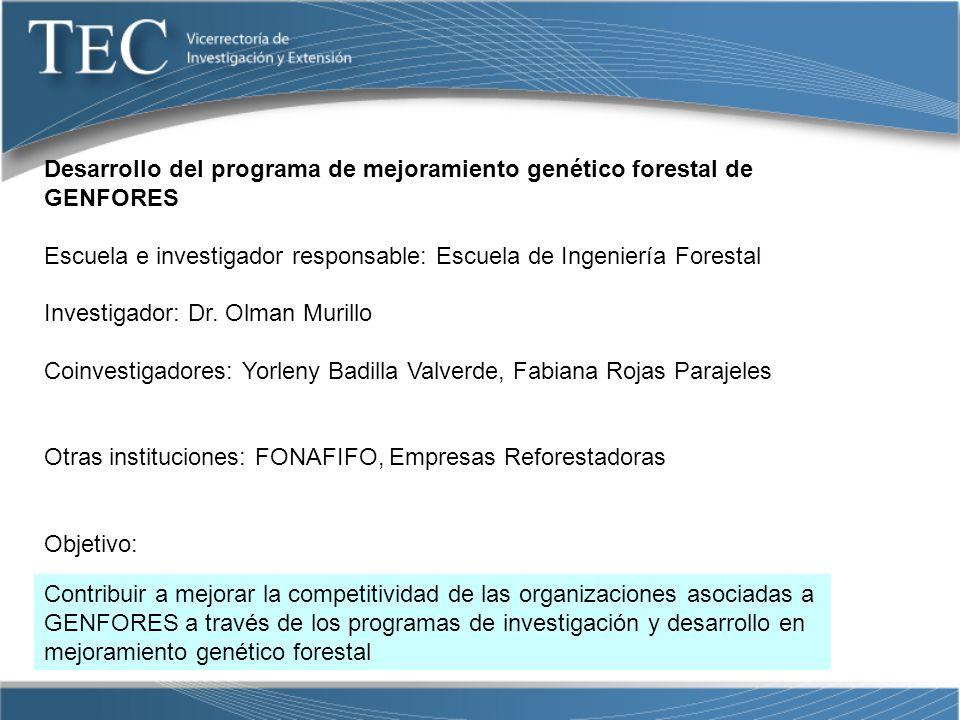 Desarrollo del programa de mejoramiento genético forestal de GENFORES