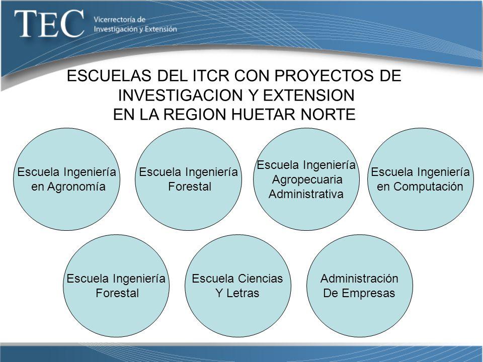 ESCUELAS DEL ITCR CON PROYECTOS DE INVESTIGACION Y EXTENSION