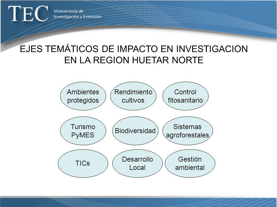 EJES TEMÁTICOS DE IMPACTO EN INVESTIGACION EN LA REGION HUETAR NORTE