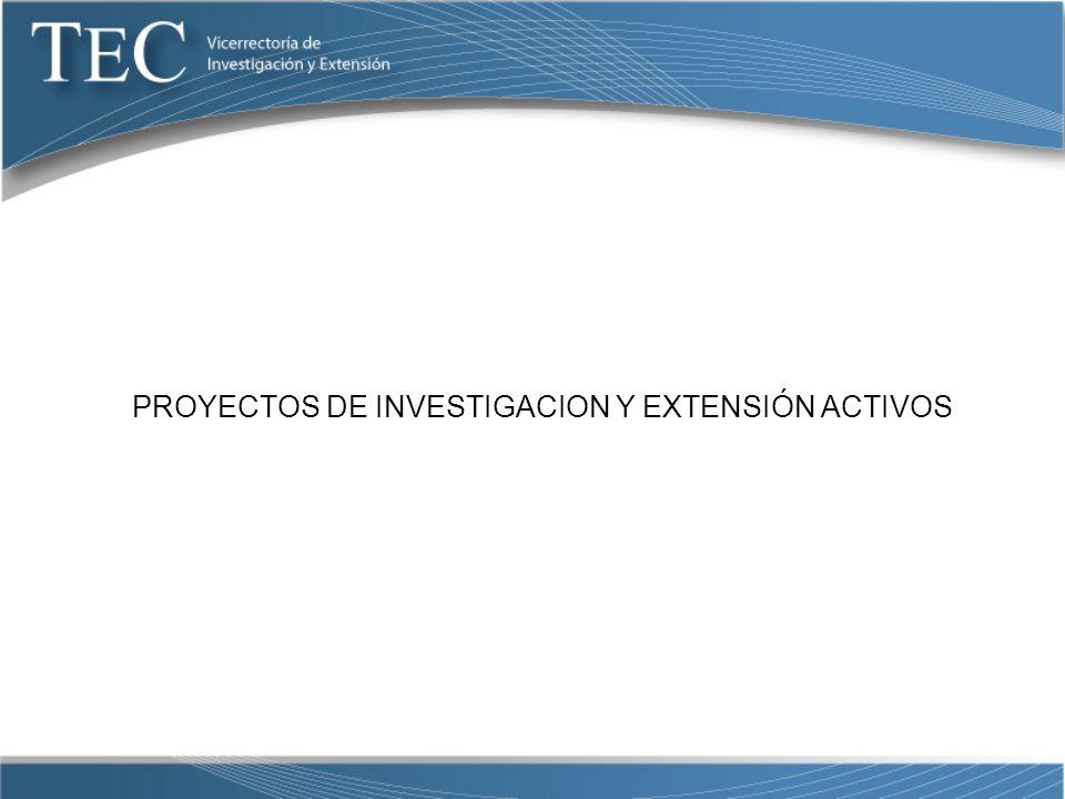 PROYECTOS DE INVESTIGACION Y EXTENSIÓN ACTIVOS