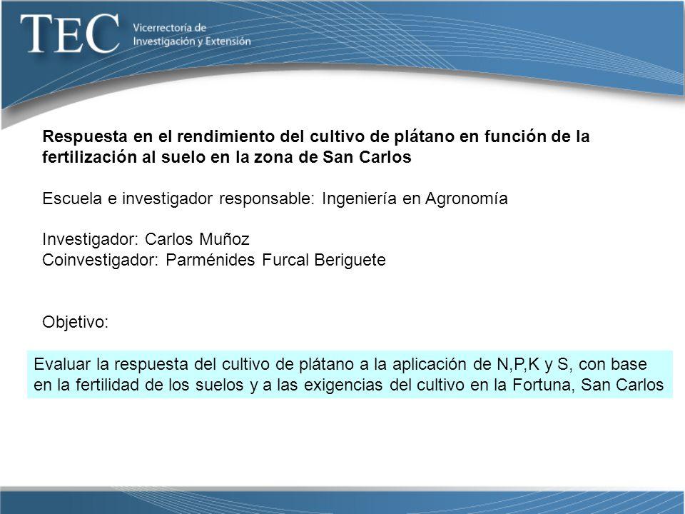 Respuesta en el rendimiento del cultivo de plátano en función de la fertilización al suelo en la zona de San Carlos
