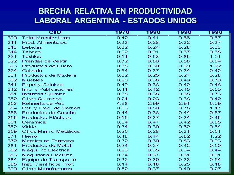 BRECHA RELATIVA EN PRODUCTIVIDAD LABORAL ARGENTINA - ESTADOS UNIDOS