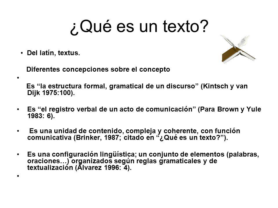 ¿Qué es un texto • Del latín, textus.