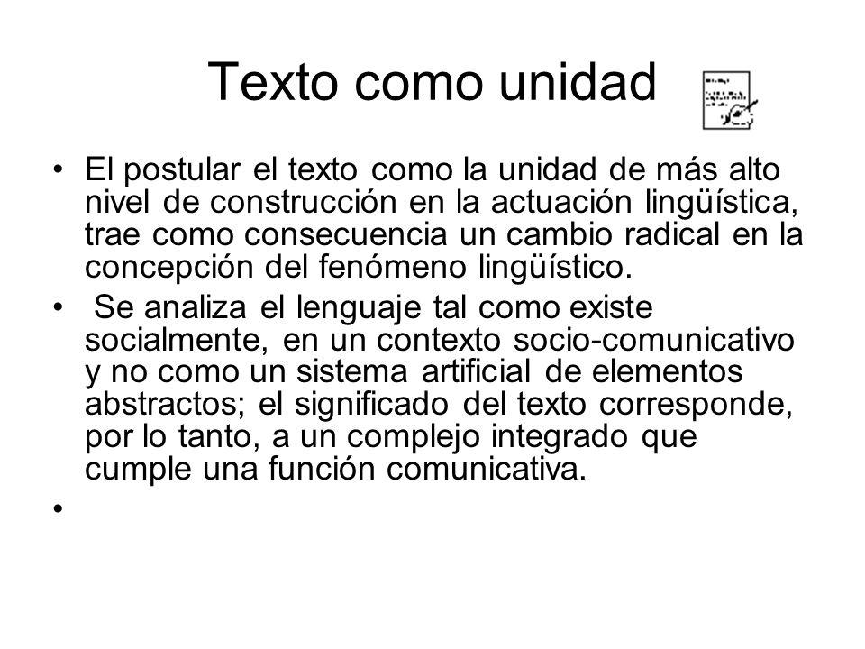 Texto como unidad