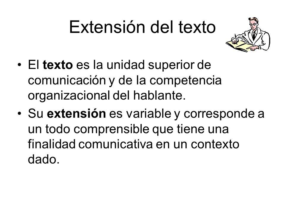 Extensión del texto El texto es la unidad superior de comunicación y de la competencia organizacional del hablante.
