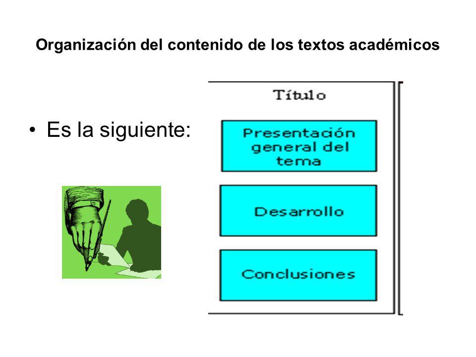 Organización del contenido de los textos académicos
