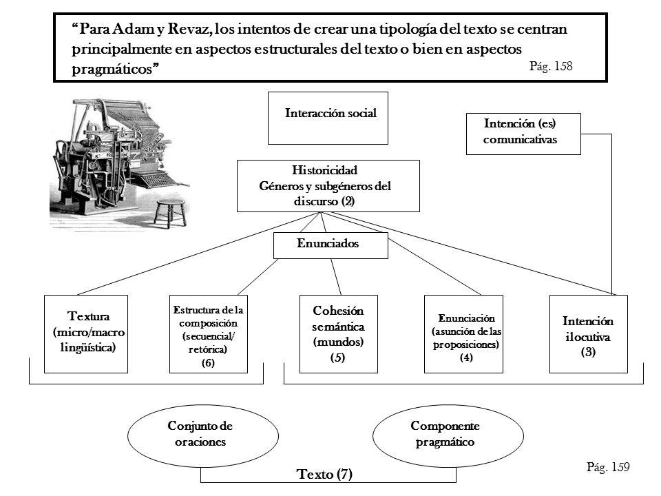 Para Adam y Revaz, los intentos de crear una tipología del texto se centran principalmente en aspectos estructurales del texto o bien en aspectos pragmáticos