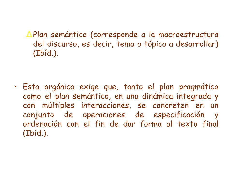 Plan semántico (corresponde a la macroestructura del discurso, es decir, tema o tópico a desarrollar) (Ibíd.).