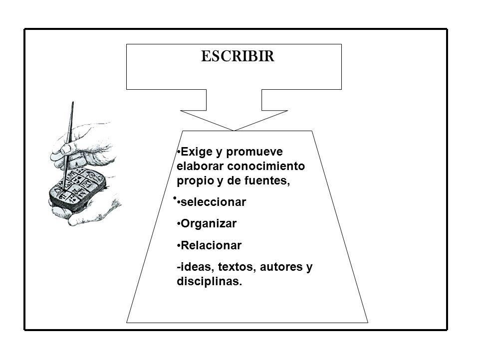 ESCRIBIR Exige y promueve elaborar conocimiento propio y de fuentes,