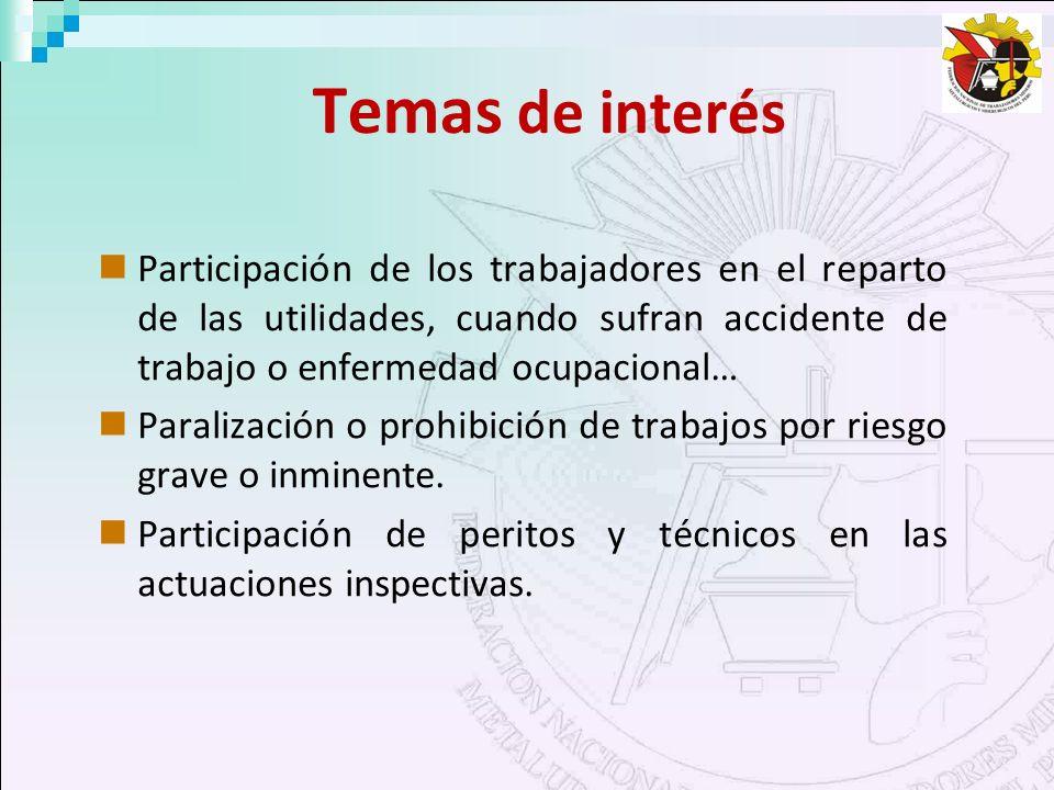 Temas de interés Participación de los trabajadores en el reparto de las utilidades, cuando sufran accidente de trabajo o enfermedad ocupacional…