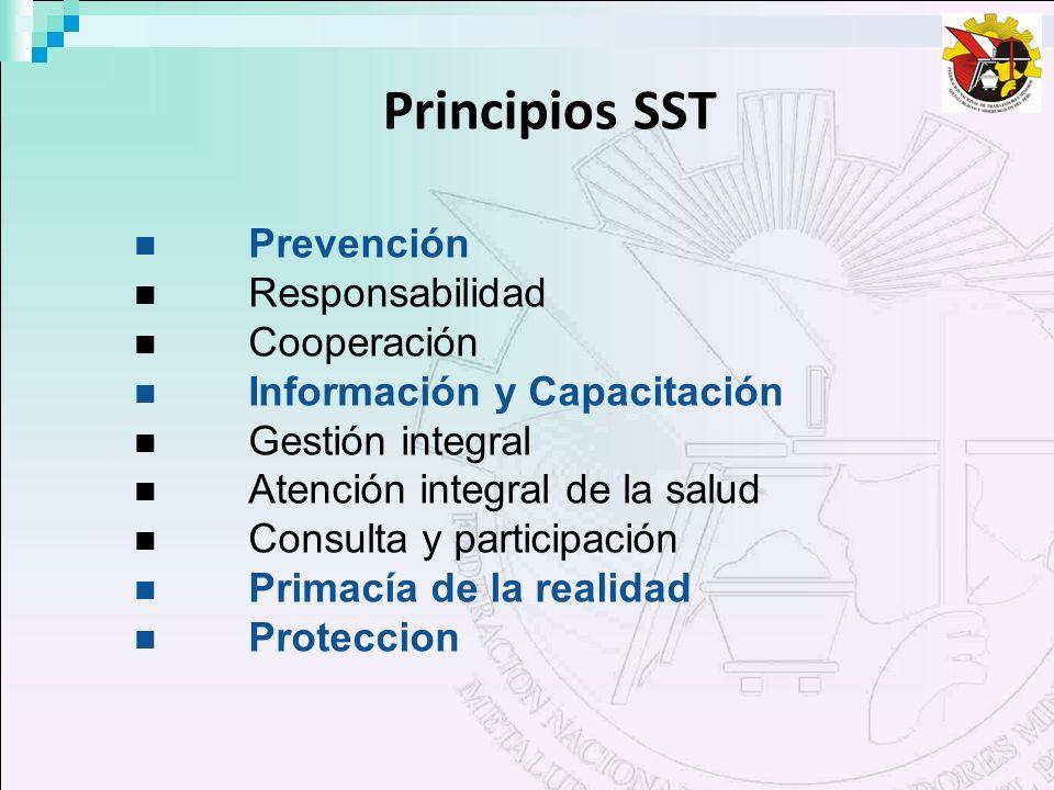 Principios SST Prevención Responsabilidad Cooperación